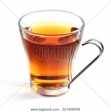 Perfect glass of tea with isolated path