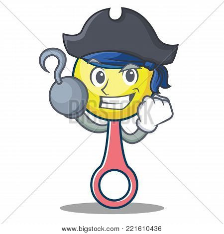Pirate rattle toy character cartoon vector illustration