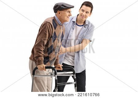 Young guy helping a senior with a walker isolated on white background