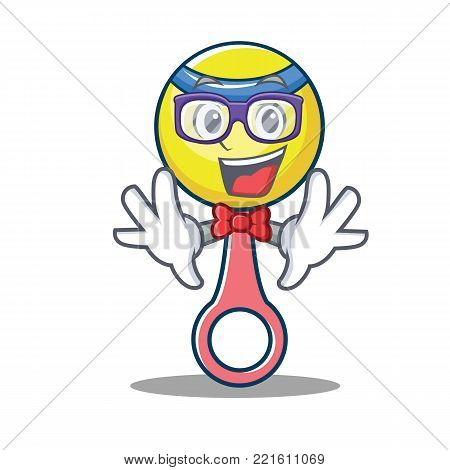 Geek rattle toy character cartoon vector illustration