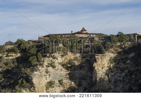 Grand Canyon Lodge with blue sky. Grand Canyon lodge at a sunny day