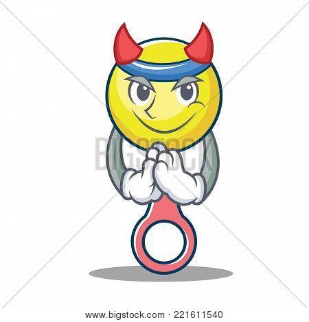 Devil rattle toy mascot cartoon vector illustration