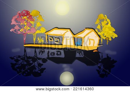 Painting watercolor landscape colorful of home in the relaxing family with beautiful moonlight night, background. Hand painted illustration.
