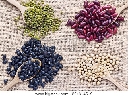 Many types of beans are separated in a spoon on a sackcloth. green bean, soybean, black bean, red bean, poppy seed and pivot