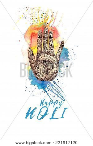 A watercolor drawing of a human hand, palms with a mehndi knot, an Indian pattern, with bright paint and splashes on the theme of a holi festival, for decor and a postcard on a white background, a print with the inscription