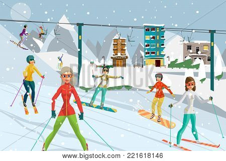 Sports resort in the mountains in winter. Women ski from the mountain on skis and snowboards. Flat cartoon vector illustration