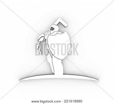 An illustration of ice hockey goalie with knight shield. Sport equipment or club emblem. 3D rendering