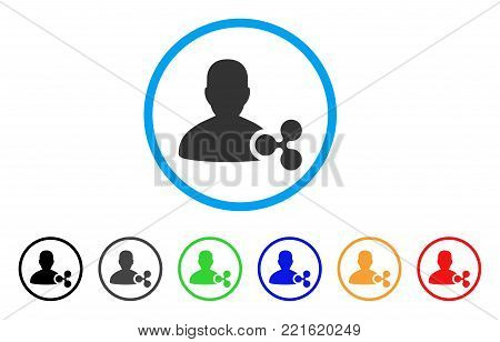 Ripple Person Loan rounded icon. Style is a flat gray symbol inside light blue circle with additional colored versions. Ripple Person Loan vector designed for web and software interfaces.