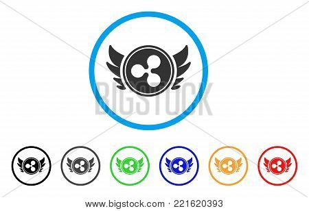 Ripple Angel Investment rounded icon. Style is a flat gray symbol inside light blue circle with additional colored versions. Ripple Angel Investment vector designed for web and software interfaces.