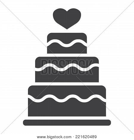 Stacked love cake glyph icon, valentines day and romantic, wedding cake sign vector graphics, a solid pattern on a white background, eps 10.