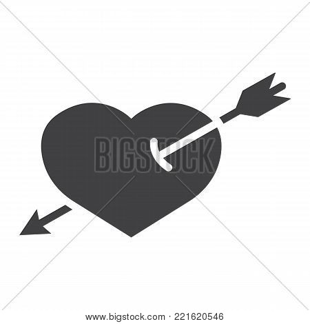 Heart Pierced with Arrow glyph icon, valentines day and romantic, love sign vector graphics, a solid pattern on a white background, eps 10.