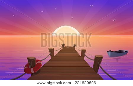 Cartoon illustration of the wooden pier with ropes, life-buoy and boat in the ocean at sunset time.