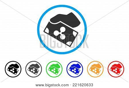 Pay Cash Ripple rounded icon. Style is a flat grey symbol inside light blue circle with bonus colored versions. Pay Cash Ripple vector designed for web and software interfaces.