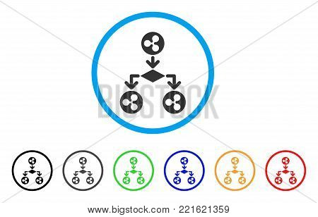 Ripple Cashflow Structure rounded icon. Style is a flat gray symbol inside light blue circle with additional color versions. Ripple Cashflow Structure vector designed for web and software interfaces.