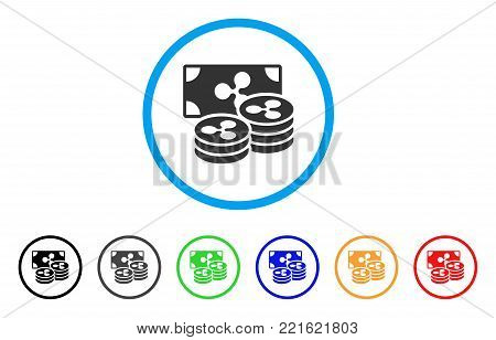 Ripple Coins And Banknote rounded icon. Style is a flat gray symbol inside light blue circle with bonus color versions. Ripple Coins And Banknote vector designed for web and software interfaces.