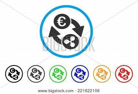 Ripple Euro Exchange rounded icon. Style is a flat grey symbol inside light blue circle with bonus color variants. Ripple Euro Exchange vector designed for web and software interfaces.