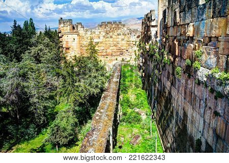 Ruins of wall of great court of Heliopolis and trilithons , Baalbek at Bekaa valley Lebanon