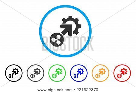 Ripple Integration Cog rounded icon. Style is a flat grey symbol inside light blue circle with additional colored versions. Ripple Integration Cog vector designed for web and software interfaces.