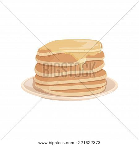Pile of delicious pancakes topped with honey or maple syrup on plate. Tasty fast food dessert. Colorful vector illustration in flat style isolated on white background. Design for menu or recipe book.