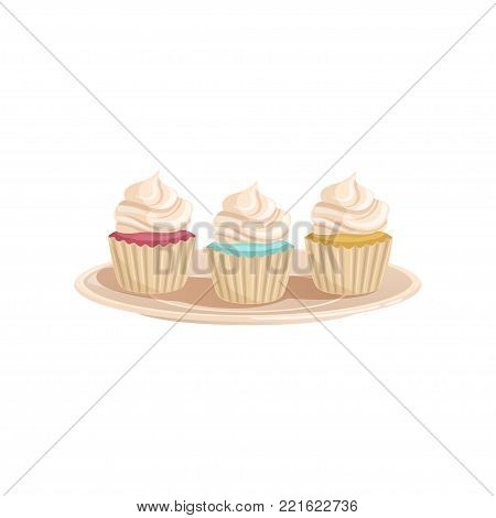 Three cupcakes with whipped cream. Colored and tasty muffins on a plate. Concept of delicious dessert. Design for menu, flyer, poster, banner. Cartoon flat vector illustration isolated on white.