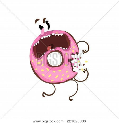 Bitten donut with pink glaze and sprinkles. Cartoon character of doughnut with frightened facial expression. Flat design for sticker, t-shirt print or cafe. Funny vector illustration isolated on white