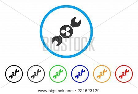 Ripple Repair Wrench rounded icon. Style is a flat grey symbol inside light blue circle with additional colored variants. Ripple Repair Wrench vector designed for web and software interfaces.
