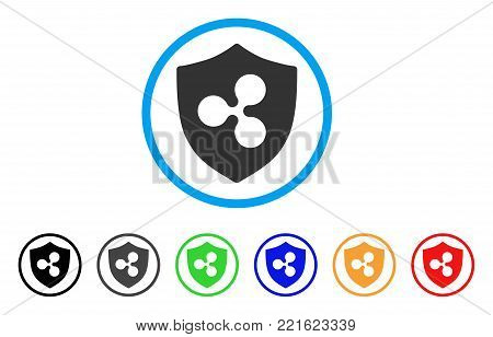 Ripple Shield rounded icon. Style is a flat gray symbol inside light blue circle with bonus color versions. Ripple Shield vector designed for web and software interfaces.