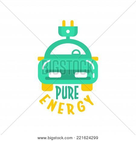 Creative flat style logo design template with electric car and plug. Green and yellow alternative pure energy. Eco technology and business. Vehicle charger station label. Flat vector isolated on white