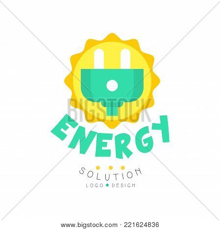 Green energy solution original logo design with electric plug for eco-friendly business or company. Alternative pure power, renewable electricity production industry. Flat vector isolated on white.