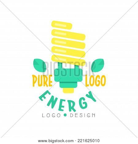 Illustration of modern electric light bulb and text for pure energy logo template. Green and yellow alternative source of power, eco-friendly business industry. Flat colorful vector isolated on white