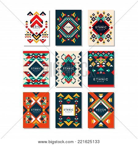 Collection of card templates with ethnic patterns. Abstract design with geometric shapes. Colordul flat vector illustration isolated on white background. Elements for brochure, cover, flyer or poster.