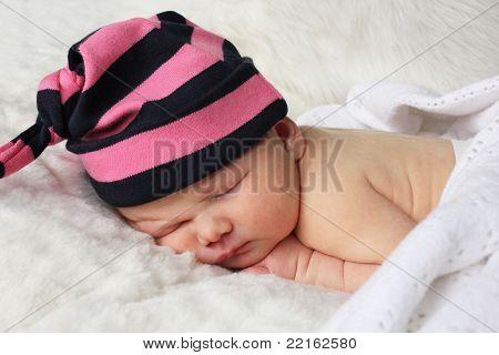 Newborn Baby With Stripey Hat