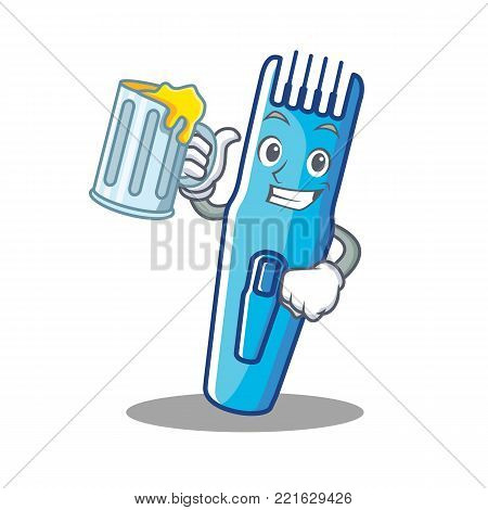 With juice trimmer mascot cartoon style vector illustration