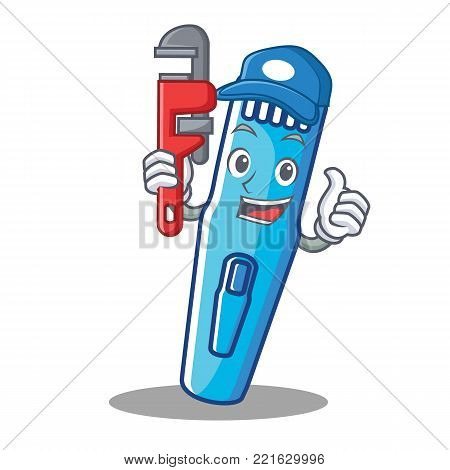Plumber trimmer mascot cartoon style vector illustration
