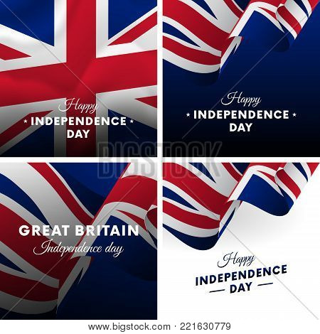 Banner or poster of Great Britain independence day celebration. Super set. Waving flag. Vector illustration.