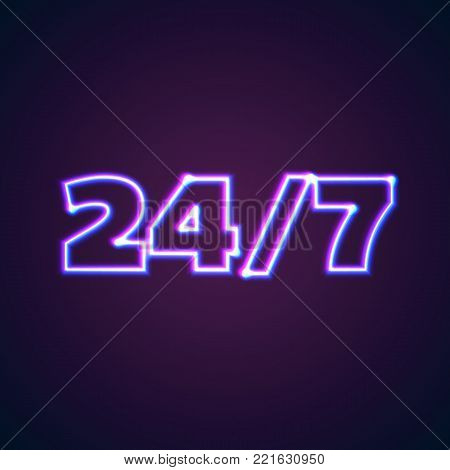 24 7 round hour open neon sign with glowing purple and blue lights