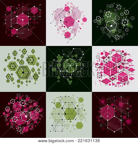 Bauhaus art composition. Set of decorative modular vector backdrops with circles and hexagons. Retro style patterns collection, graphic backdrops for use as booklet cover templates.