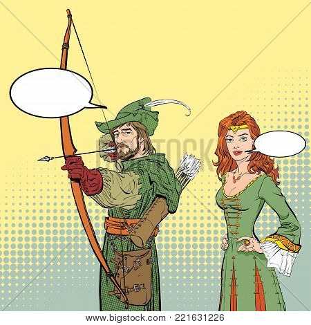 Robin Hood aiming on target. Young soldier. Defender of weak. Medieval legends. Lady in medieval dress. Beloved woman of Robin Hood. White lady of forrests. poster