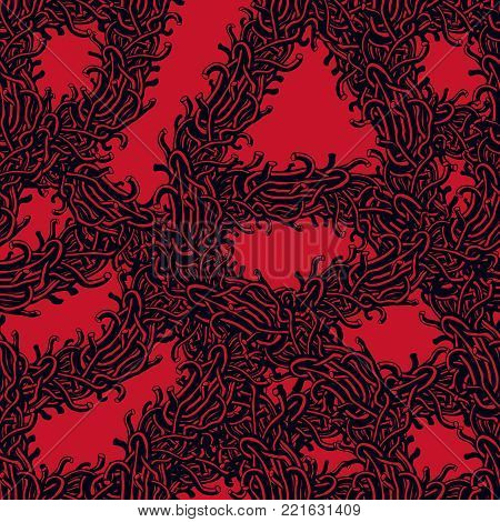 Disgusting horror art and nightmare seamless pattern, vector background. Tangled branches or roots stylish endless illustration. Usable for fabric, wrapping, web and print.