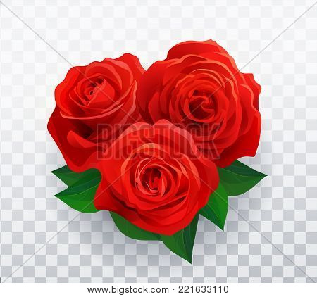 Vector beautiful red roses in shape of heart floral decorative element with transparent shadow