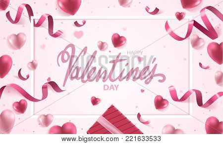 Happy Valentines Day holiday vector background illustration. Pink Hearts with ribbons, confetti and handwritten text on pink background.