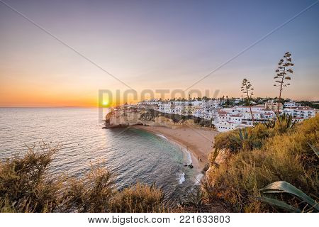Sunset at the Algarve coast, Carvoeiro, Portugal