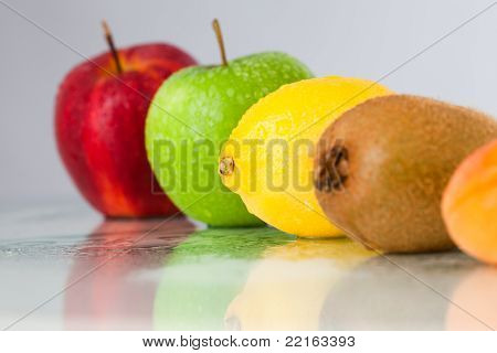 Line Of Different Fruits