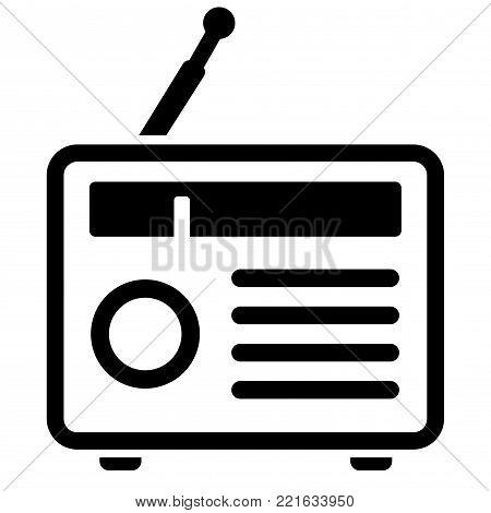 Illustration of radio icon on white background