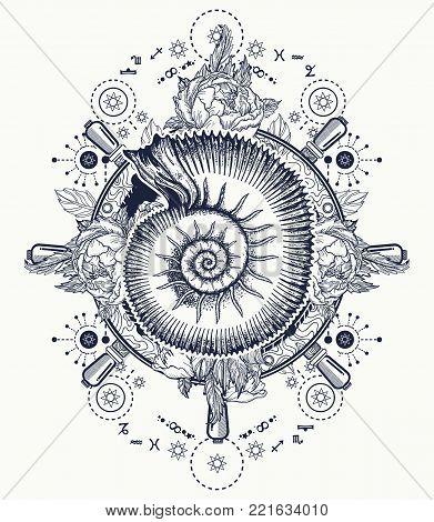 Sea Wave Storm And Ancient Ammonites Tattoo And T-shirt Design. Ocean Wave Art. Sea Tattoo. Symbol O