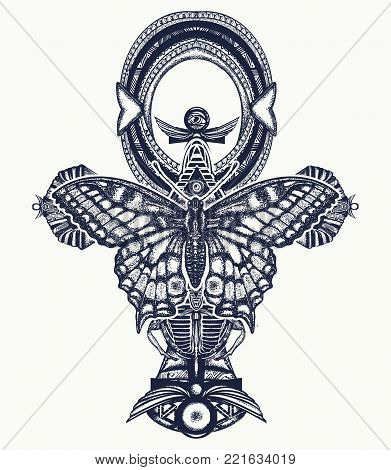 Ankh And Butterfly Tattoo And T-shirt Design, Ancient Egyptian Cross T-shirt Design. Decorative Ethn