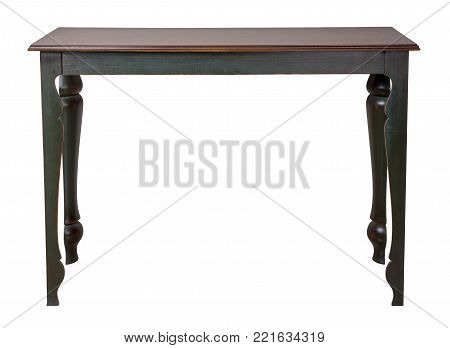 Vintage Furniture - Retro wooden vintage table with dark green legs isolated on white background including clipping path