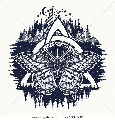 Celtic trinity knot and butterfly, Helm of Awe, aegishjalmur, tattoo. Scandinavian symbols of Vikings, travelers, mascot. Celtic tattoo boho style, t-shirt design