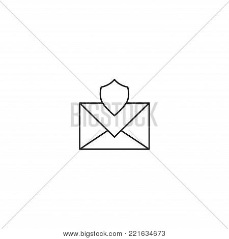 Mobiles secured mail line vector simple web graphic icon