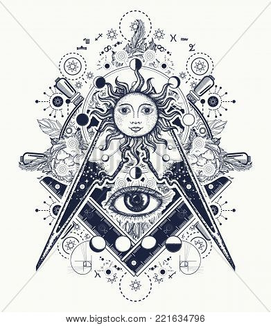 Magic Eye T-shirt Design. Mysteries Of Knowledge Of Mankind. Masonic Symbol Tattoo And T-shirt Desig